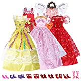 Mix Style Handmade Gorgeous Barbie Doll Party Clothes Dress x5 & Shoes x 10 Gift thumbnail