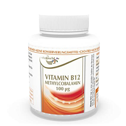 Vita World Vitamina B12 Metilcobalamina 100mcg 180 Comprimidos Vit B 12 Made in Germany