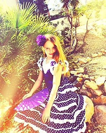 La Senorita Vestido Flamenco Español Traje de Flamenca Chica/niños Violeta Blanco