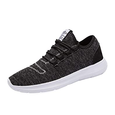 f832cf72ce93 KEEZMZ Men s Running Shoes Fashion Breathable Sneakers Mesh Soft Sole  Casual Athletic Lightweight Black-39