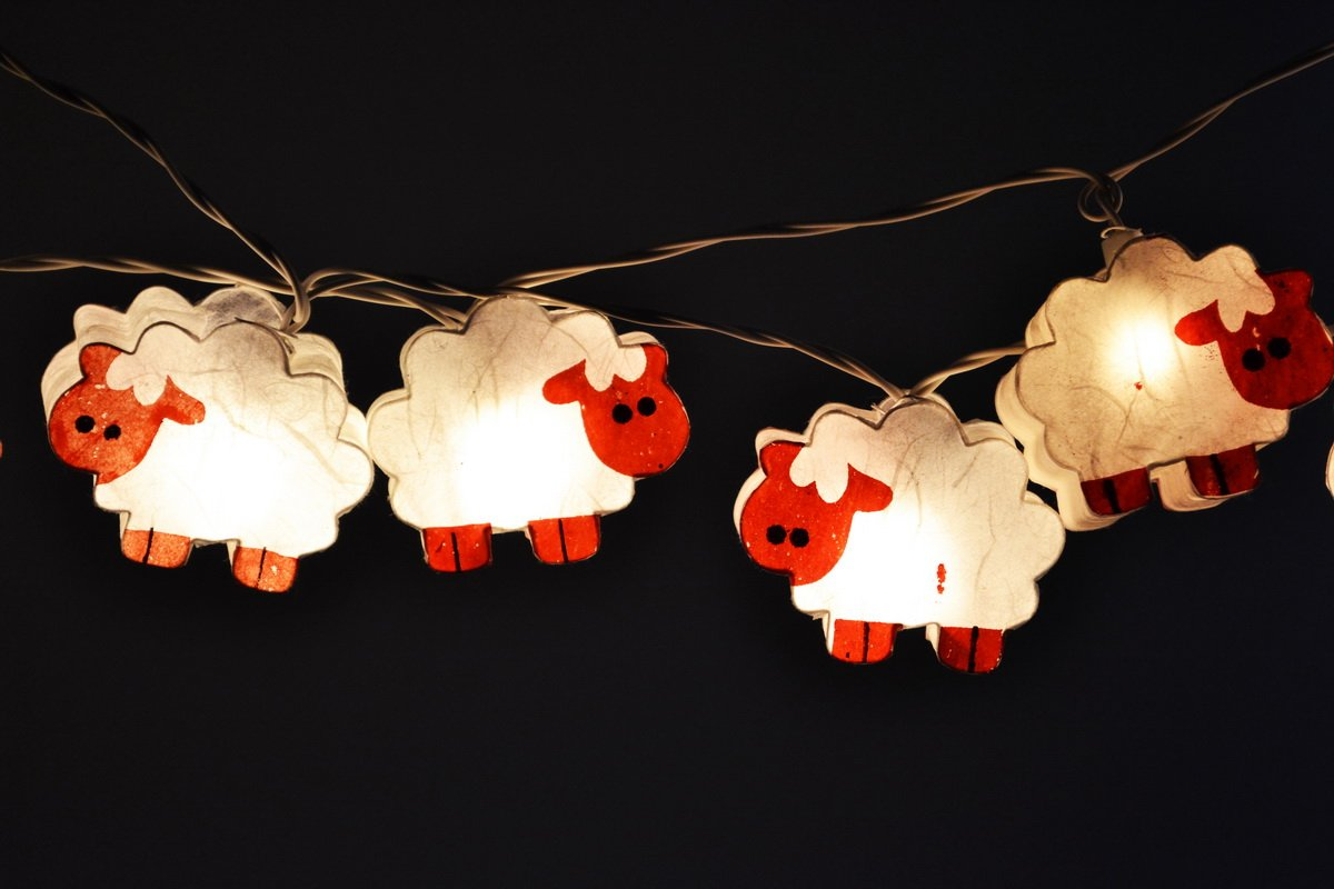 Bedroom Lights for Kids Night Lights White Sheep Hanging Lights for Bedroom Decoration 20 Lights/set by Thai Decorated