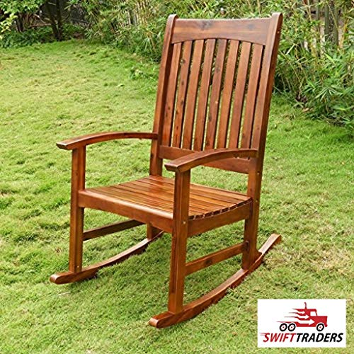 Rocker Mission Glider - Beautiful Warmth of Wood Grain and slatted Back and seat Highland Traditional Porch Rocker has Drape a Fringed Throw Over The Back of The Chair with Throw Pillow for Free
