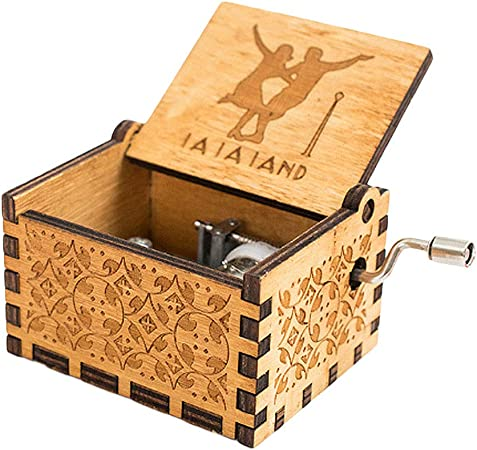 Belupai caja musical grabada a mano de madera antigua tallada a mano, estilo vintage, caja de música, regalos para cumpleaños, Navidad, día de San Valentín: Amazon.es: Hogar