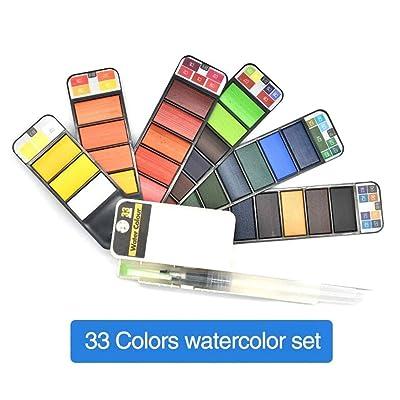 LianX Watercolor Paint Set, Portable Watercolor Kits 18/25/33/42 Colors Foldable Paint Set Outdoor Painting Artist Kids: Home & Kitchen