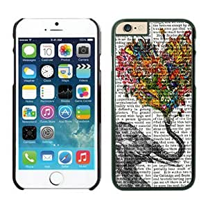 Iphone 6 Case 4.7 Inches, Diy Black TPU Silicone Soft Iphone 6 Case Cover Vintage Newspaper Aztec Elephant Floral Trunk