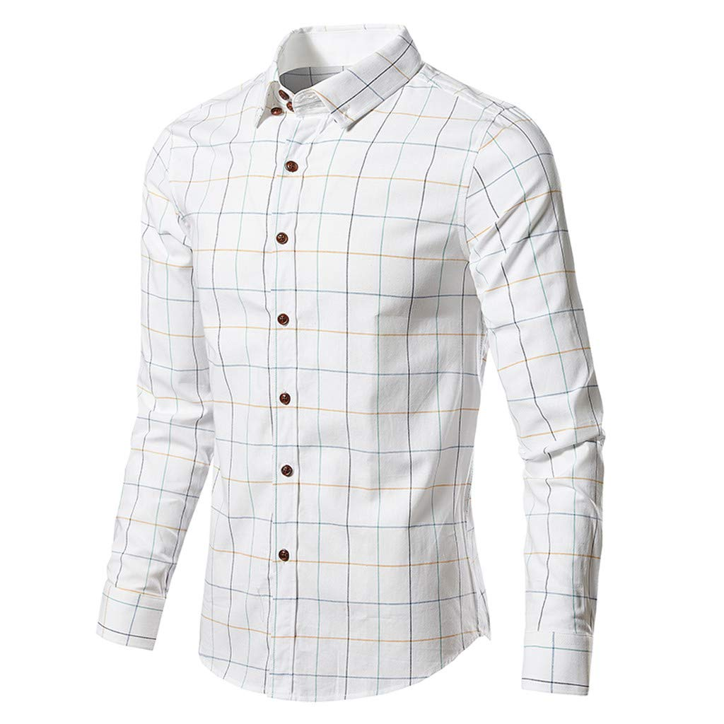 GLVSZ Mens Fashion Business Casual Long Sleeve Plaid Print Button Dress Shirt