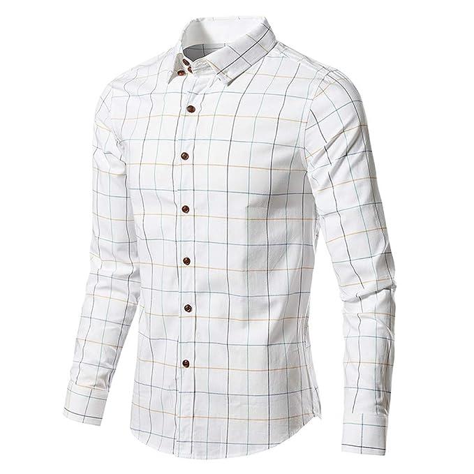 Camicie da uomo camicie da uomo per il Tempo Libero Camicie Business BLU BIANCO COTONE MANICA LUNGA
