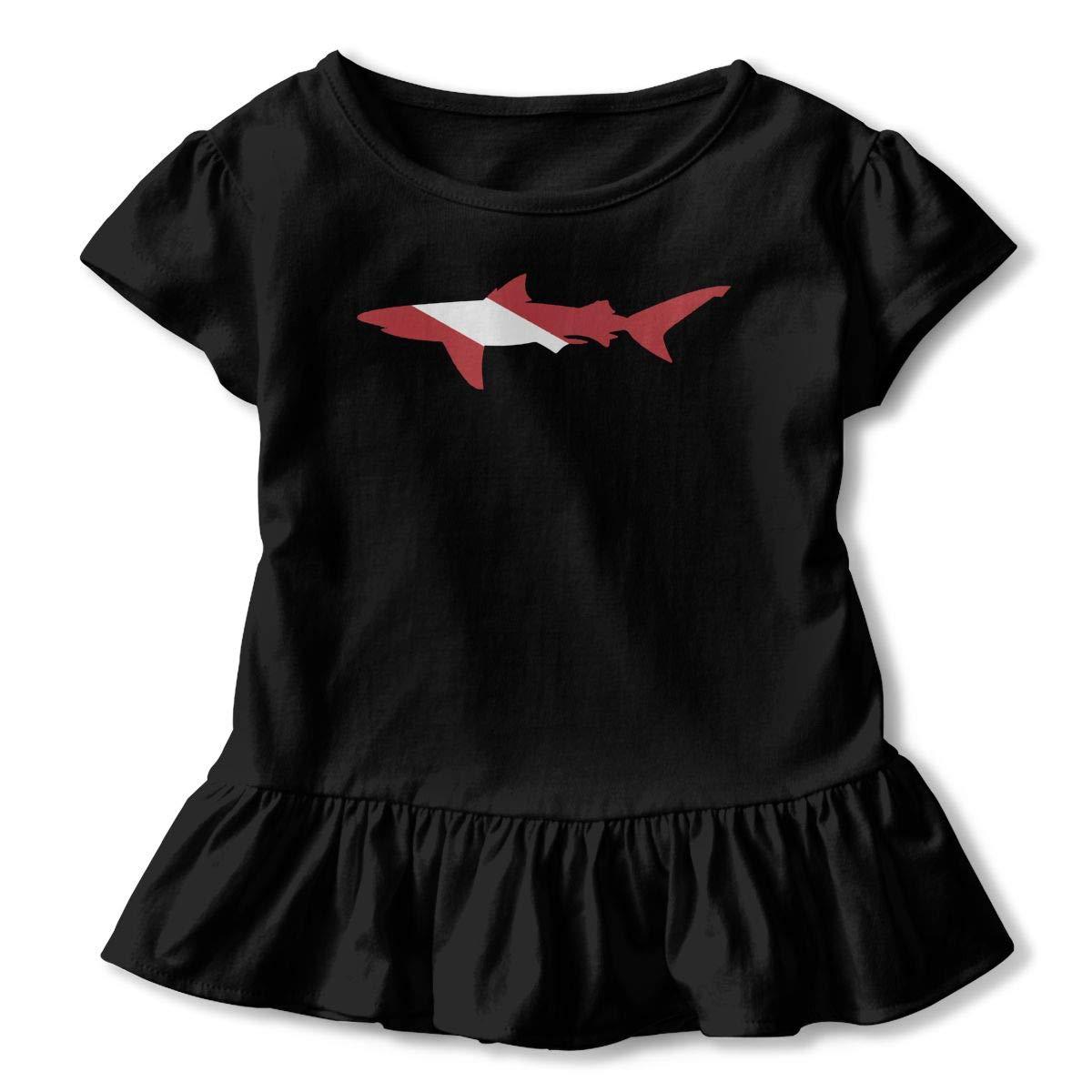 Shark Scuba Diving Flag Toddler//Infant Girls Short Sleeve T-Shirts Ruffles Shirt T-Shirt for 2-6T