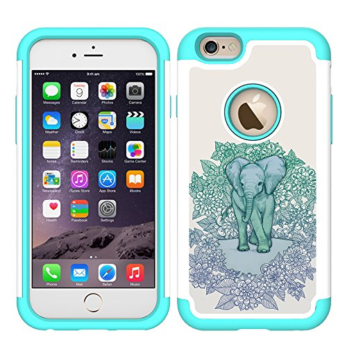 (iPhone 6 Case, UrSpeedtekLive iPhone 6s Cases [Shock Absorption] Dual Layer Heavy Duty Protective Silicone Plastic Cover Case for iPhone 6/6s - Elephant(Official Micklyn Le Feuvre Product))
