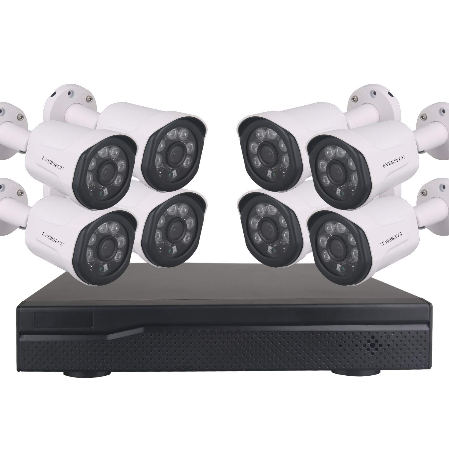 EVERSECU 1080P PoE Home Security Camera System, 8 Channel H.265 NVR Recorder with 8 2.0MP Outdoor Indoor Surveillance CCTV Bullet IP Cameras, 100ft Night Vision, No Hard Drive