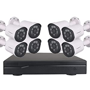 EVERSECU 1080P PoE Home Security Camera System, 8 Channel H.265+ NVR Recorder with (8) 2.0MP Outdoor/Indoor Surveillance CCTV Bullet IP Cameras, 100ft Night Vision, No Hard Drive