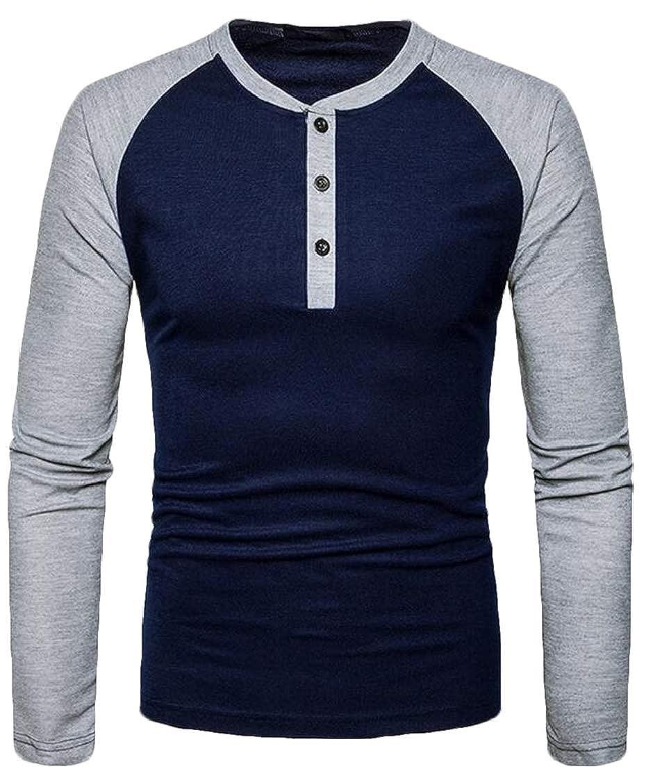 YYear Men Crew Neck Cotton Raglan Sleeve Casual Buttons Patchwork Henley Tshirt