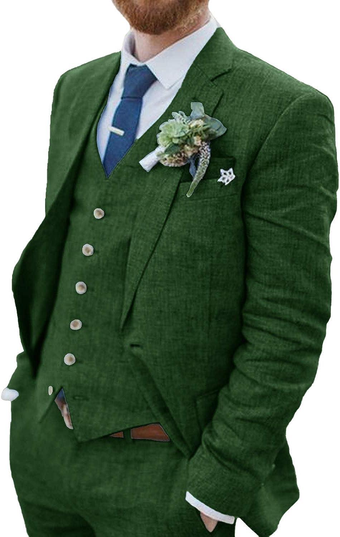 DGMJ Mens Linen Suits for Wedding Formal Dress Suit Tuxedos Slim Fit 3 Piece Suit Blazer Set XZ098