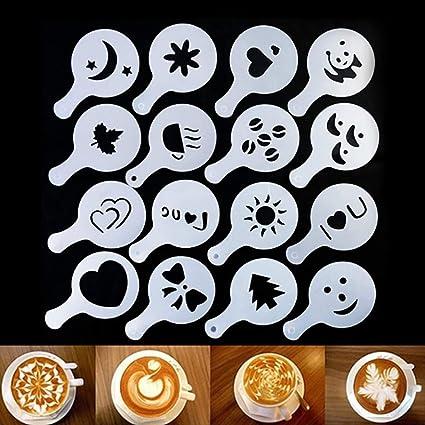 16 plantillas para decoración de café, diseño de café amigo con molde de capuchino,