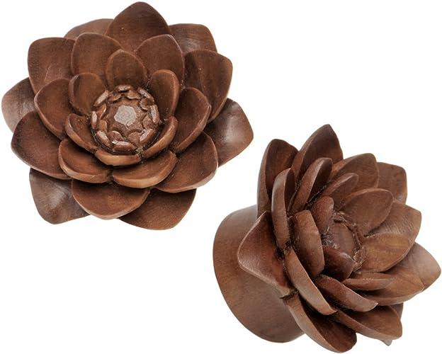 """8g - 1/"""" Water Lily Ear Gauge Plugs Sabo Wood"""