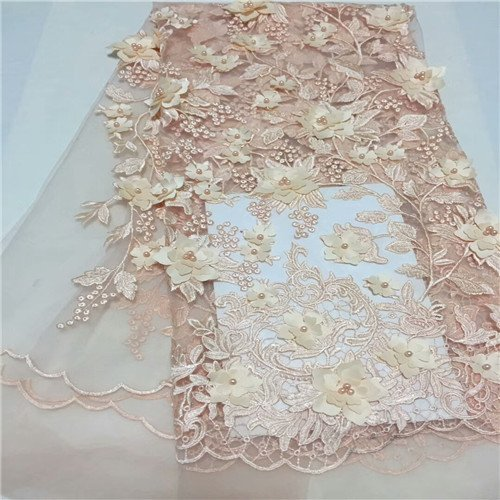 Designer Lace Fabric - Design African Embroidery Bead Tulle Net Lace Fabric Bridal Wedding Dress French Cd56b 2 - Plait Bejeweled Spousal Interlace Spangled Enlace Decorated - 1PCs