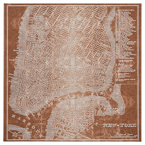 Modern Copper Print of New York City Map on Canvas, 24'' x 24'' by Stone & Beam