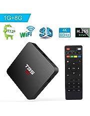 Android TV Box, Android 7.1 TV Box T95 S2 1GB RAM 8GB ROM Amlogic S905W Quad Core 64 bits 2.4GHz WiFi H.265 decodificación de Video Smart 4K TV Box