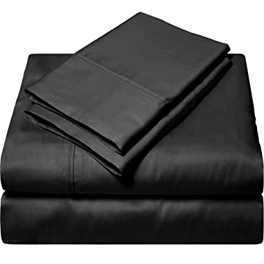 King Size Sheets Luxury Soft 100% Egyptian Cotton - Sheet Set for King Mattress Black Solid 600 Thread Count Deep Pocket