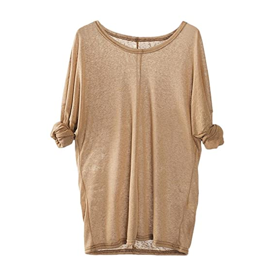 Camisa de Puntos Mujer, Suéteres Que Tejer de Las Mujeres de Manga Larga con Cuello en V Floja Ocasional Blusa Tops: Amazon.es: Ropa y accesorios