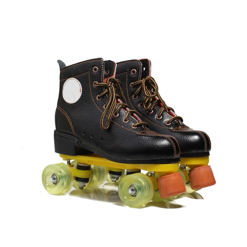 LIUXUEPING スケート、 二列のスケート、 アダルトローラースケート、 スケート、 8ラウンドフラッシュシューズ B07GFJQ6F9 43|黒 黒 43