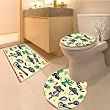 3 Piece Anti-slip mat set Quote near the Human Body Shaped Cactus Plant with Moustache Print Fabric Set with H Non Slip Bathroom Rugs