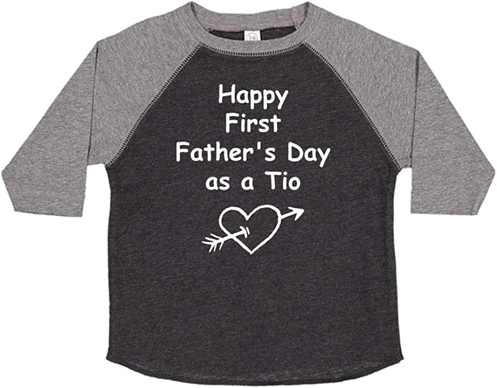 Toddler//Kids Raglan T-Shirt Happy First Fathers Day as a TIO Heart and Arrow
