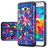 Galaxy Grand Prime Case, Samsung Galaxy Go Prime [Shock Absorption / Impact Resistant] Hybrid Dual Layer Armor Defender Protective Case Cover for Galaxy Grand Prime, Rainbow Flower