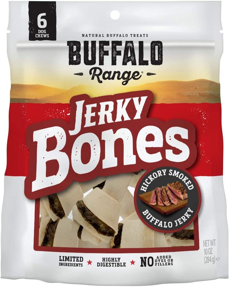 Buffalo Range Rawhide Dog Treats | Healthy, Grass-Fed Buffalo Jerky Raw Hide Chews | Hickory Smoked Flavor | Jerky Bone
