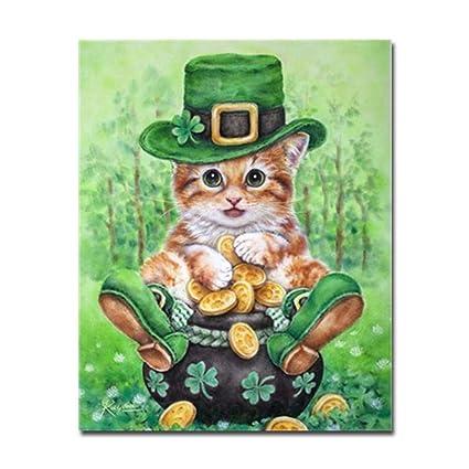Wacydsd Gato Con Sombrero Verde Zapatos Verdes Sentados En