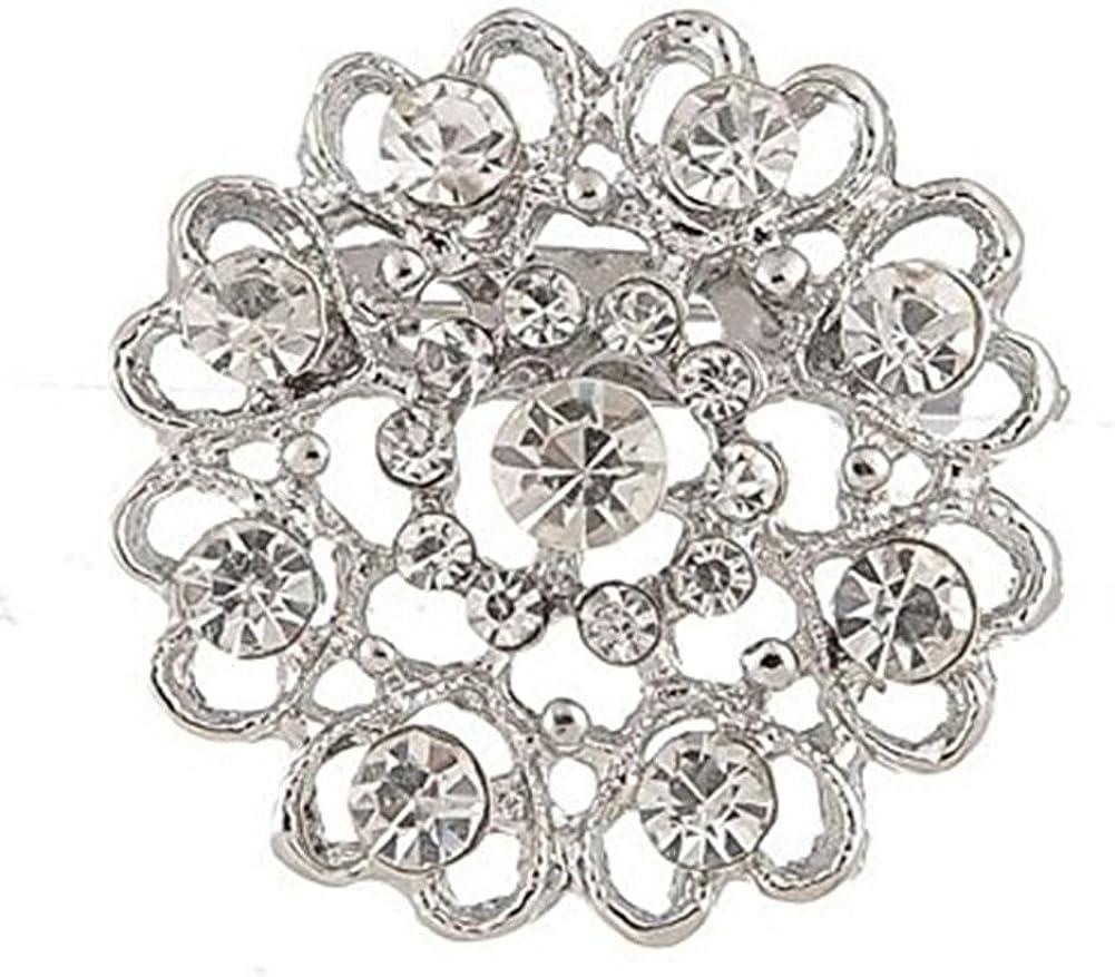 Silber TOOGOO 1 x Mode Elegant Diamant Hohl Diamant-Besetzt Herz Hochzeit Braut Brosche Strass Bedeckt Schals Schal Clip Fuer Frauen Damen Schmuck