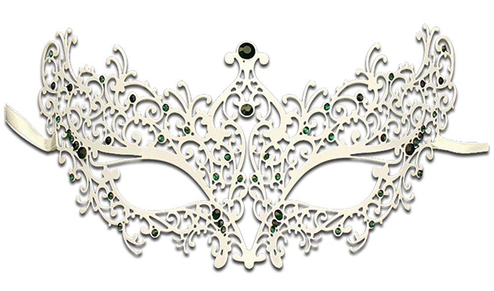 Hagora, Women's Chic With Stones Fine Metal Laser Cut Venetian Masquerade Mask,White/Green Stones One Size