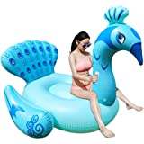 Color You Inflatable Peacock Swimming Pool Floats Ride-on, Party Tube Giant Raft Lounge Toy for Adults & Kids, 75 x 63 x 59 Inch, Blue