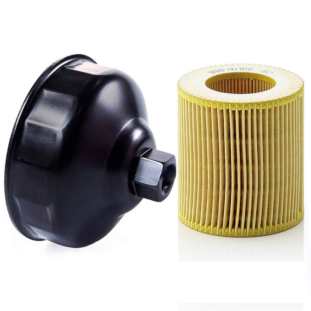 Ibetter Genuine Metal-Free Oil Filter and 86.4mm 16 Flutes Oil Filter Wrench for BMW with HU 816 X Oil Filter, Oil Filter Housing Cap Removal Tool for Oil Change, Oil Filter Socket Wrench Kit for BMW