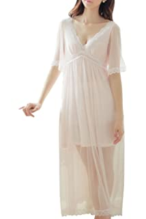 Women s Nightgown Cotton V-Neck Pajama Nightwear Long Sleeve Vintage  Sleepwear Lounge Dress be3800320
