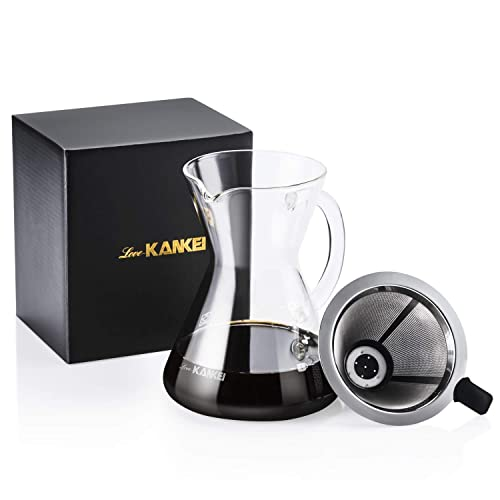 Love-KANKEI Pour Over Coffee Maker, Hand Drip Coffee with Permanent Filter 500 ml/17 oz for 1-2 Cups