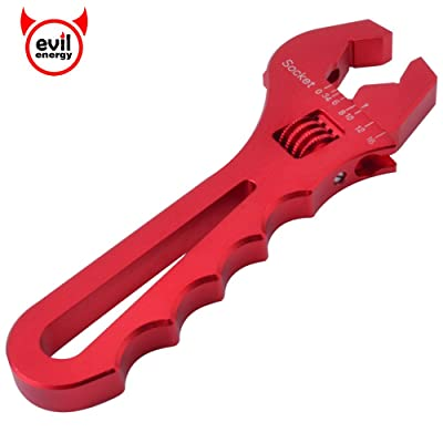 EVIL ENERGY AN Hose Fitting Adjustable Wrench Spanner Lightweight Aluminum 3AN-16AN Red: Automotive