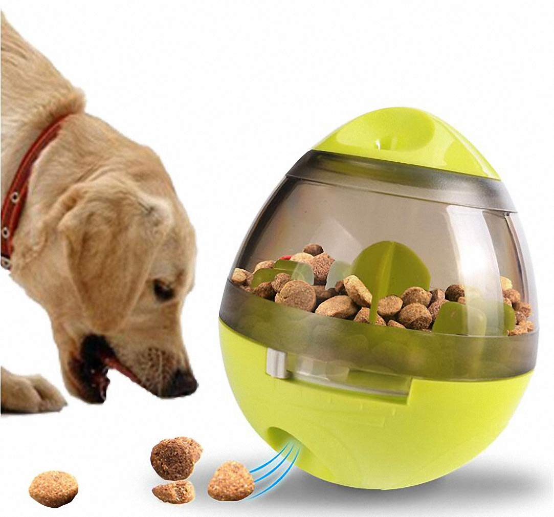 Green Treat Ball Dog Toy for Pet Increases IQ Interactive Food Dispensing Ball Dogs & Cats  Increases IQ and Mental Stimulation
