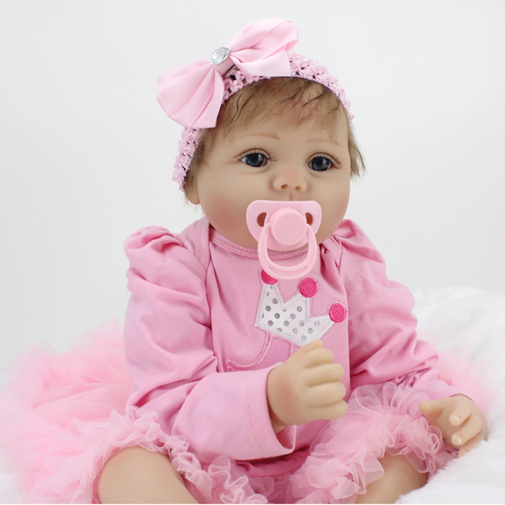 ZIYIUI 22 inch 55cm Reborn Baby Doll That look real Newborn Soft Vinyl Silicone Magnetic Mouth Lifelike Boy Girl Toy Xmas Gift