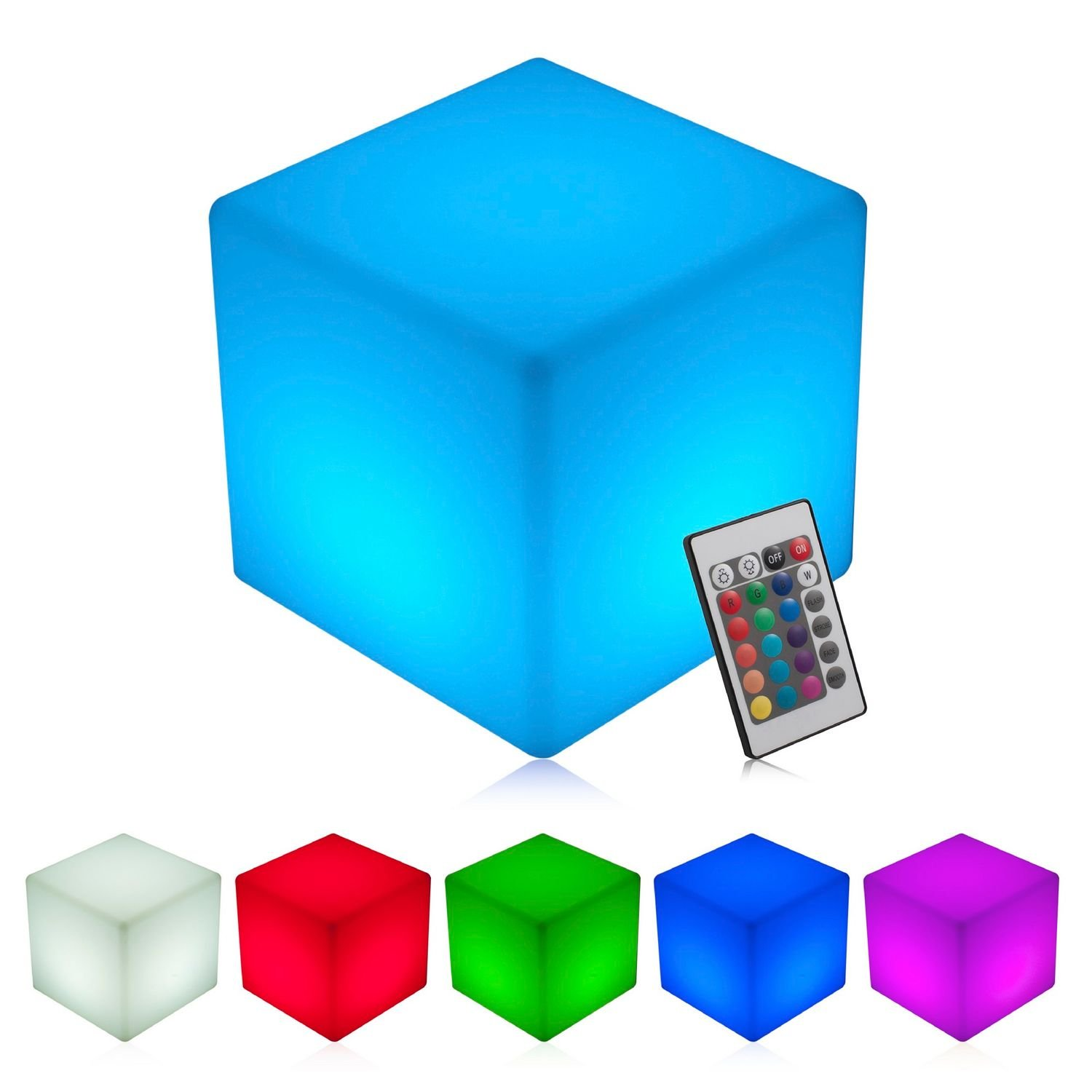 INNOKA 16-inch LED Cube Light, Waterproof & Cordless [Extra Large Glow Cube] Rechargeable, RGB Color Changing Table Chair for Pool Light, Outdoor, Home, Patio, Party, Mood Lamp, Decorative Lighting