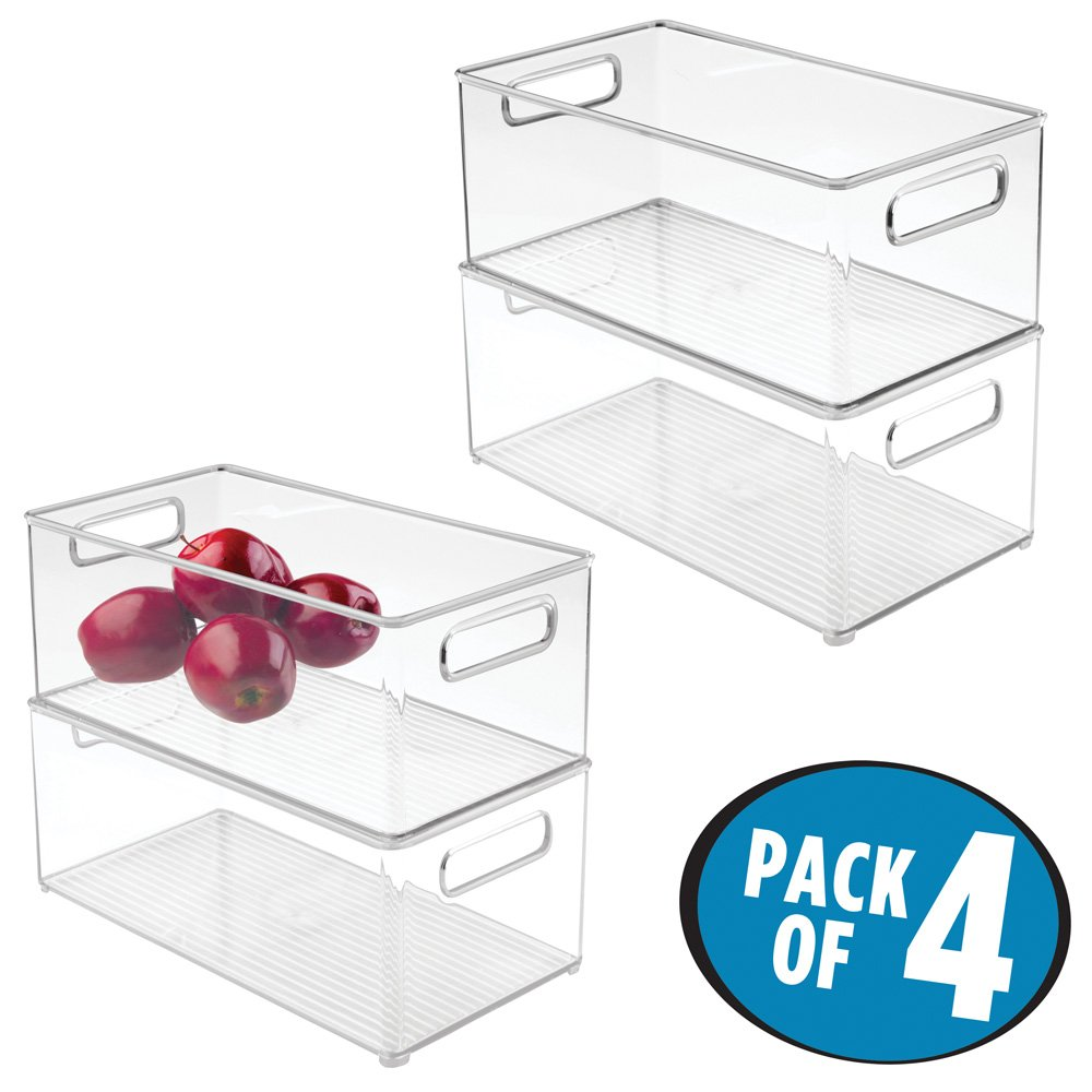 mDesign Stackable Kitchen Storage Organizer Deep Bin Box with Built-In Handles, for Pantries, Cabinets, Shelves, Refrigerator, Freezer - BPA Free, Food Safe - 8'' x 6'' x 14.5'', Pack of 4, Clear