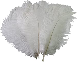 50pcs 10-15cm Natural Home Decor Ostrich Feathers for Home Wedding Xmas Party Decoration (White)