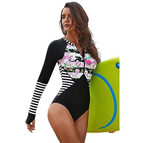 FlYHIGH Traje de baño Mujer Talla Grande Una Pieza Manga Larga Rash Guard Protección UV Rayas Florales Traje de baño con Estampado de Surf Cremallera ...