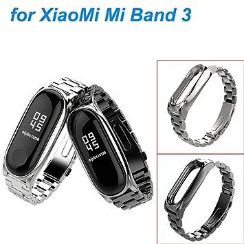 Zolimx Pulsera de Acero Inoxidable de Lujo Reloj Banda Correa para Xiaomi Mi Band 3 Smartwatch (Negro): Amazon.es: Deportes y aire libre