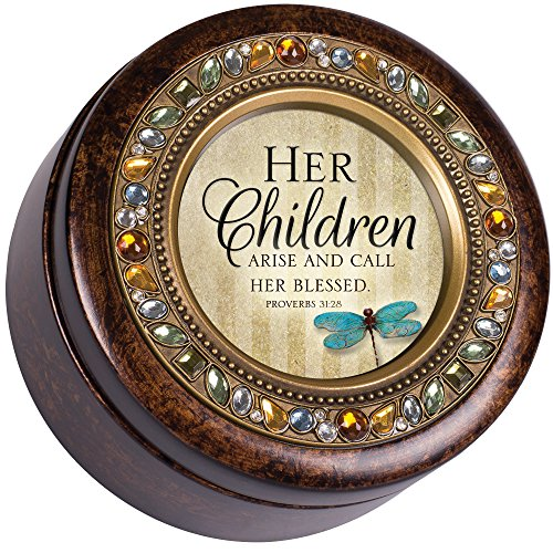 Cottage Garden Mom I Love You Proverbs 31:28 Jeweled Amber Earth Toned Round Music Box Plays How Great Thou Art
