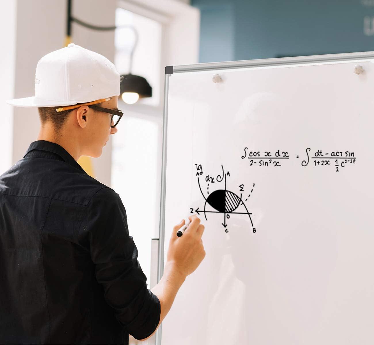 2er Pack 90x60cm einem Tafell/öscher und Whiteboard-Stiften geliefert f/ür Schule Wohnung und B/üro Magnetisches Whiteboard,Magnettafel mit Stiftablage/&12 magnetischen Partikeln