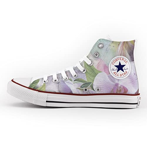 Converse All Star High Customized and Printed - handmade shoes - Italian Brand - Lilac Orchid