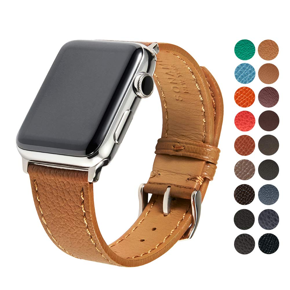 SONAMU New York French Bijou Premium Leather Strap Compatible with Apple Watch Band 38mm, Stainless Steel Clasp, Cappucino