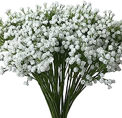 Aisamco 2 Pack Artificial Baby S Breath 14 Forks Fake Baby S Breath Bulk Flower Bush Artificial Gypsophila In White 15 7 Tall For Wedding Centerpiece Wreath Boutonniere Artificial Flowers Amazon Com Au