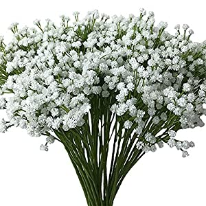 "Aisamco 2 Pack Artificial Baby's Breath 14 Forks, Fake Baby's Breath Bulk Flower Bush Artificial Gypsophila in White 15.7"" Tall for Wedding Centerpiece Wreath Boutonniere 87"